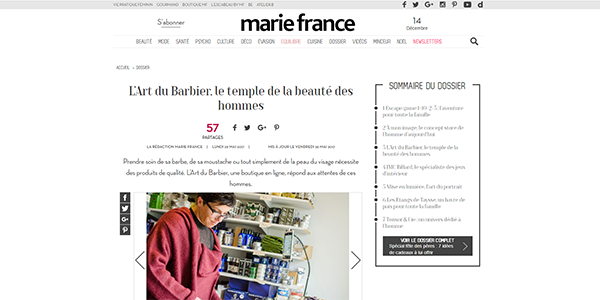 On parle de nous - Art du Barbier - sur Marie France