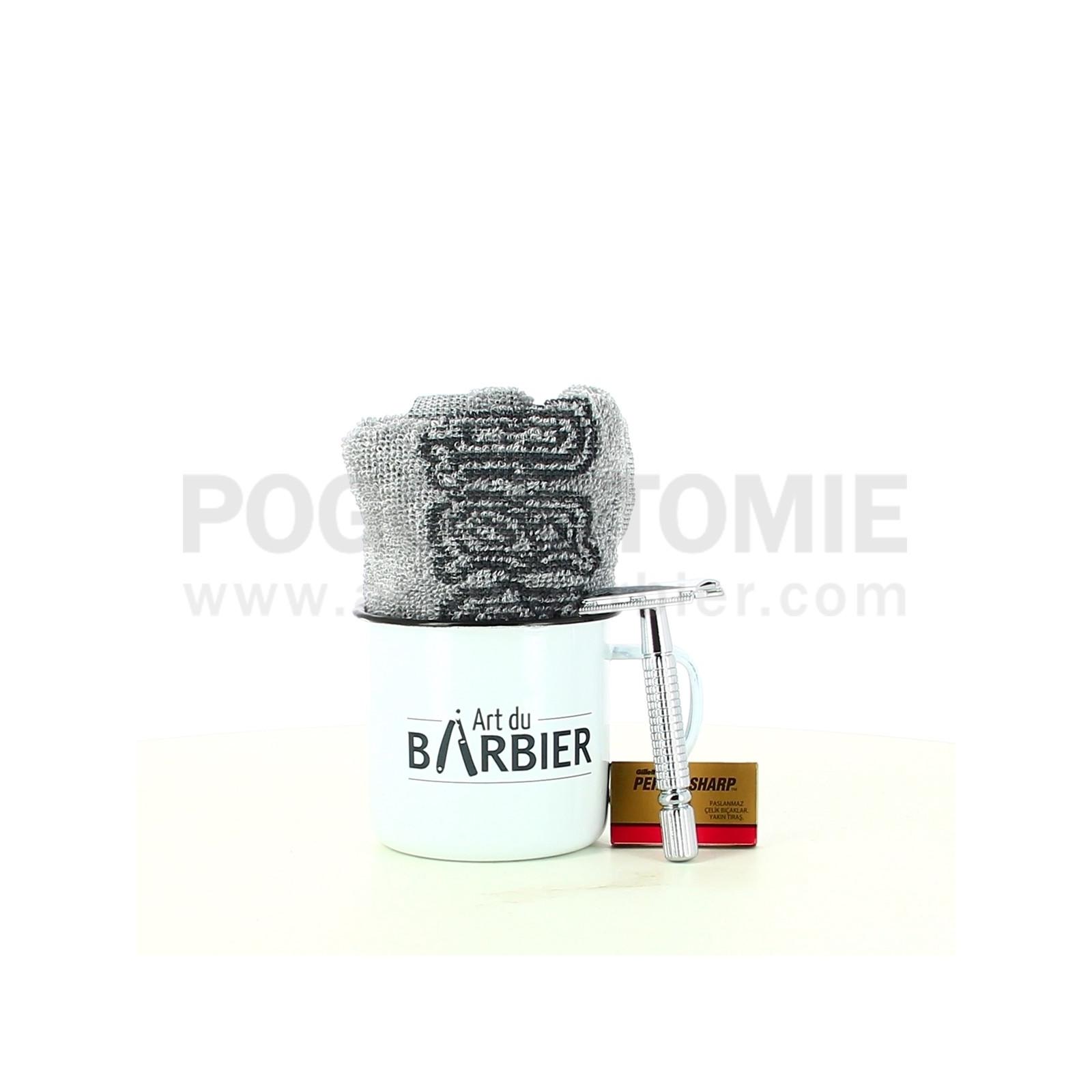 Coffret Tasse Rasage avec serviette Art du Barbier
