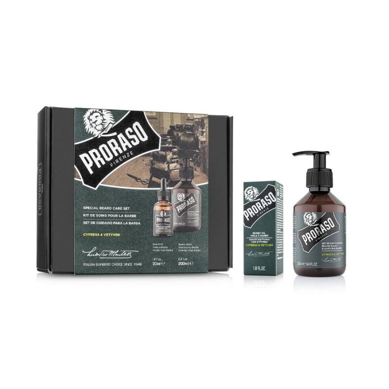 "Coffret Duo shampoing, huile à barbe ""Cypress & Vetyvier"" Proraso"