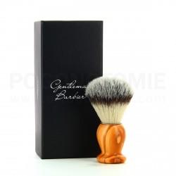 Blaireau Gentleman Barbier en bois d'olivier et poils synthétiques