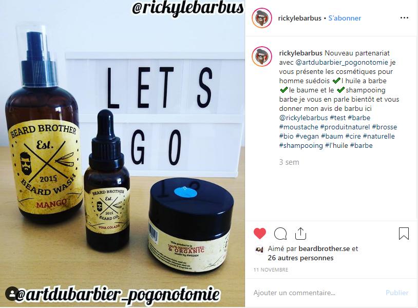 Post Instagram produits Beard Brother sur Art du Barbier