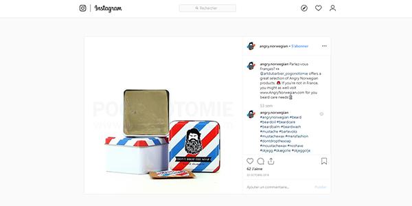 Post Instagram produits Angry Norwegian sur Art du Barbier