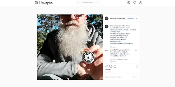 Post Instagram cire à moustaches The Audacious Beard disponible sur Art du Barbier