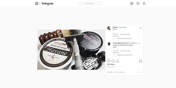 Post Instagram savon de rasage Pogonotomie / Le Père Lucien