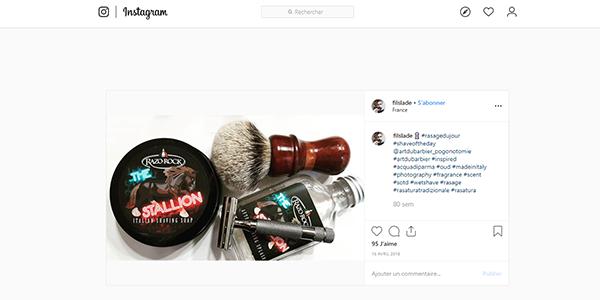 Post Instagram produits commandés sur Art du Barbier