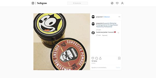 Post Instagram cires à cheveux Suavecito sur Art du Barbier
