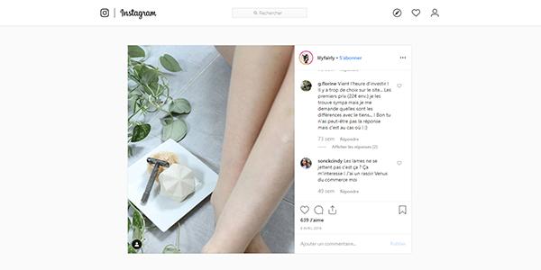 Posts Instagram rasoir de sécurité sur Art du Barbier