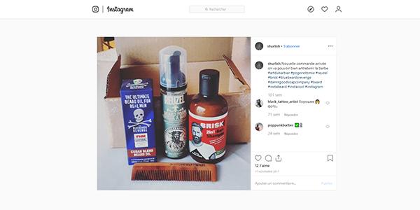 Post Instagram commande de produits sur Art du Barbier